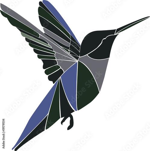 Koliber, ptak podczas lotu.