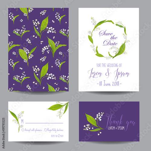 Save the Date Wedding Cards Set with Blossom Lily Flowers. Birthday Invitation, Anniversary Party, RSVP Floral Template. Vector illustration