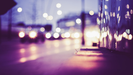 Unscharfer Hintergrund Bokeh mit Lichtern bei Nacht