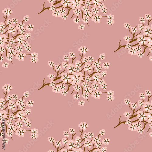 Cotton fabric Cherry blossom seamless vector pattern. Pink flortal branches background.