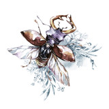 Watercolor beetle with horns on a floral background. Animal, insects. Magic flight. Can be printed on T-shirts, bags, posters, invitations, cards, phone cases, pillows. - 191798112