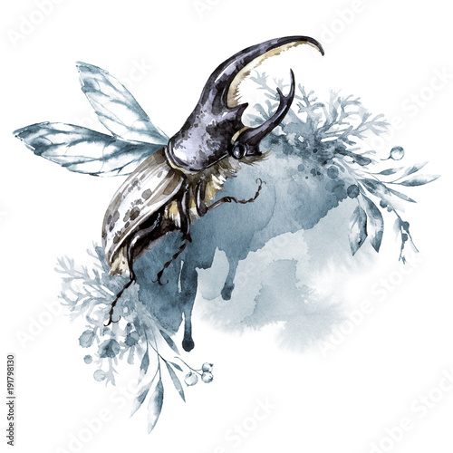 akwarela-nosorozec-beetle-z-rogami-na-tle-kwiatow-zwierzeta-owady-magiczny-lot-moga-byc-drukowane-na-t-shirtach-torbach-plakatach-zaproszeniach-kartach-futerale-na-telefon-poduszki