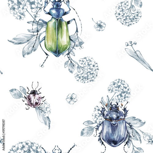 Seamless pattern flying beetles with flowers and plants. Summer and spring watercolor illustration. Entomology. Wildlife set. Animal, insects texture. Can be used for a poster, printing on fabric. - 191798387