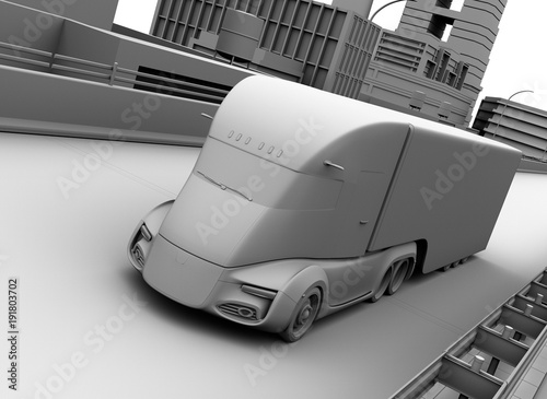lehmmodellwiedergabe-des-selbstfahrenden-elektrischen-halb-lastwagens-der-auf-landstrase-fahrt-bild-der-wiedergabe-3d