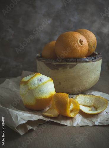 Oranges in Wood Bowl