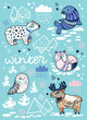 Winter greeting card with cartoon north animals, geometric iceberg and mountains. Holiday vector illustration - 191814125