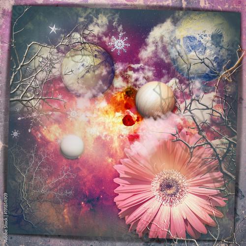 Deurstickers Imagination Cielo fantastico e stellato con fiore e pianeti