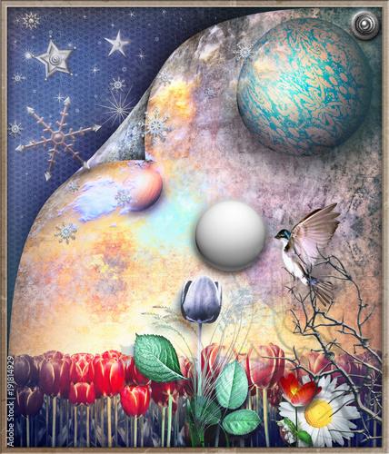 Deurstickers Imagination Campo di tulipani fiabesco e surreale con stelle,luna e fiocchi di neve