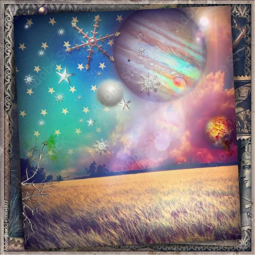 Deurstickers Imagination Notte stellata in un paesaggio fantastico e surreale
