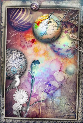 Deurstickers Imagination Paesaggio surreale e fiabesco con fiori colorati