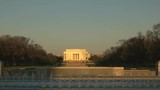 long shot of the lincoln memorial and the world war two memorial at sunrise in washington d.c. - 191819501