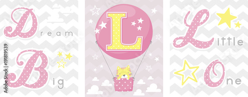 posters set of dream big little one slogan with baby cat and balloon with initial l. can be used for nursery art decor, newborn baby decoration and baby shower