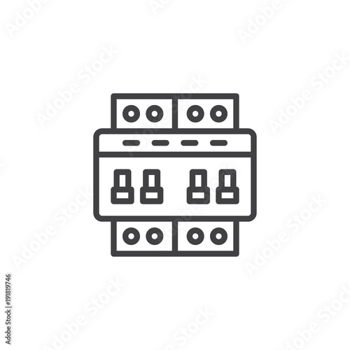 Circuit breaker switch line icon, outline vector sign