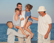 Quadro Happy Generations Family Sea Father Kids Grandfather