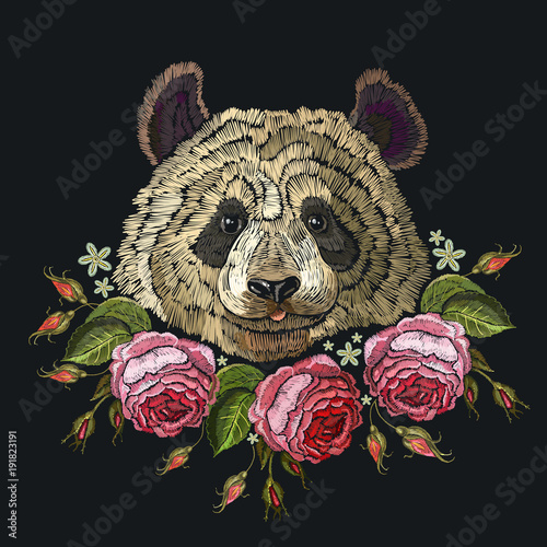 Embroidery panda and flowers. Fashion template for clothes, textiles, t-shirt design. Classical embroidery portrait of funny panda bear and roses flowers