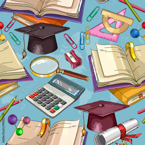 Education seamless pattern. Open book of knowledge. Symbol of science and education. Back to school concept. Modern education elements pattern
