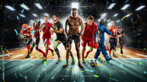 Fotobehang Voetbal players of different sports on the vollayball stadium 3D rendering