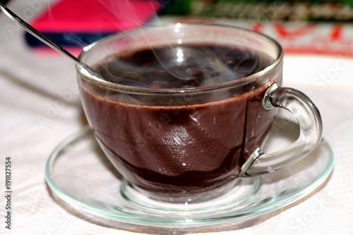 Foto op Canvas Chocolade hot chocolate. Hot chocolate is a delicious, pleasant dessert for breakfast. Invigorates, cheers up.