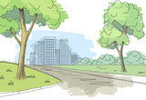 Street road graphic color city landscape sketch illustration vector - 191828761