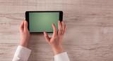 Business hands holding tablet - 191831308