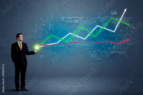 Business man holding stock-market