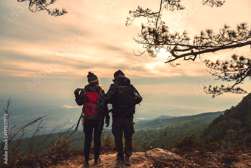 lover women and men asians travel relax in the holiday. Photograph mountain landscapes atmosphere in the morning. In the winter. In Thailand