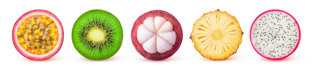 Isolated tropical fruits slices. Fresh exotic fruits cut in half (maracuya, kiwi, mangosteen, pineapple, dragonfruit) in a row isolated on white background with clipping path © Anna Kucherova