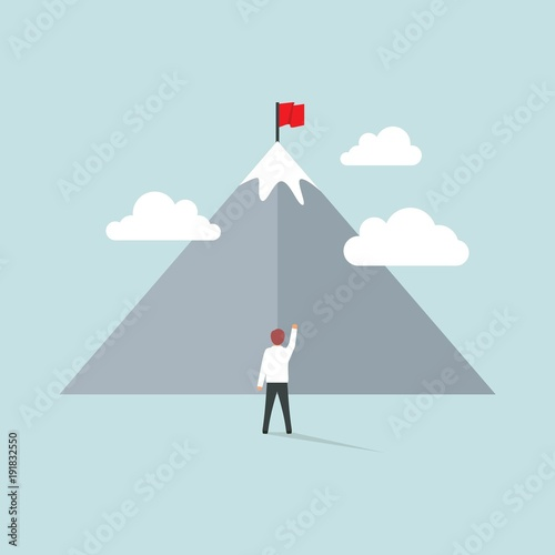 A man standing to reach his goals illustration in flat style