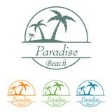 Icono plano Paradise beach en varios colores - 191835128