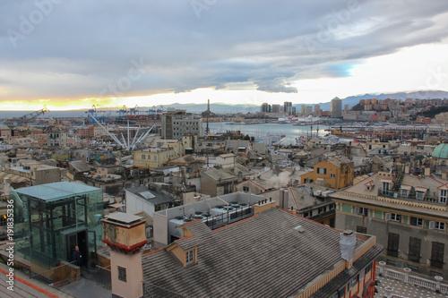 Poster Liguria I tetti e l'orizzonte di Genova