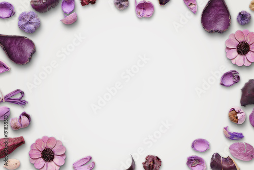 Fotobehang Lavendel Purple flower decorations on white background. Free space for text.