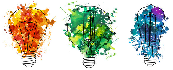 2d hand drawn illustration of three edison's bulb. Colorful splash watercolor isolated on lightbulb shape. Ink sketch, doodle on white background. Idea and solution concept. © Evorona