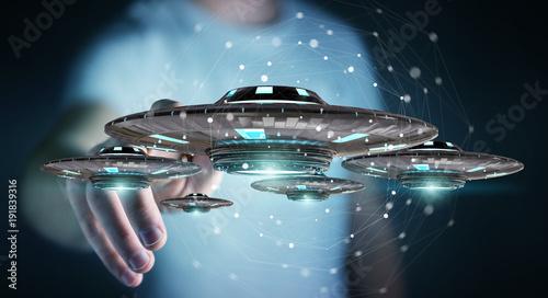 Foto op Canvas UFO Businessman with retro UFO spaceship 3D rendering