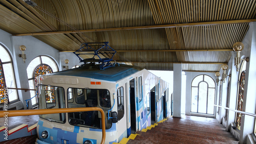 Fotobehang Kiev Public interiors of the upper funicular station and cable car in Kiev
