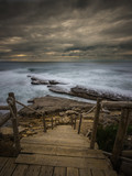 Beautiful rocky beach in the Portuguese coastline in a stormy day. Seascape. Long exposure. - 191839971