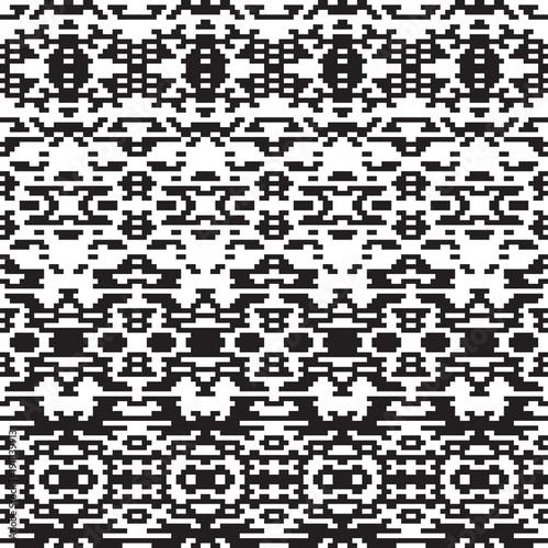 Ethnic geometric pattern. Black and white seamless background. Pixel boho ornament. Monochrome vector design.