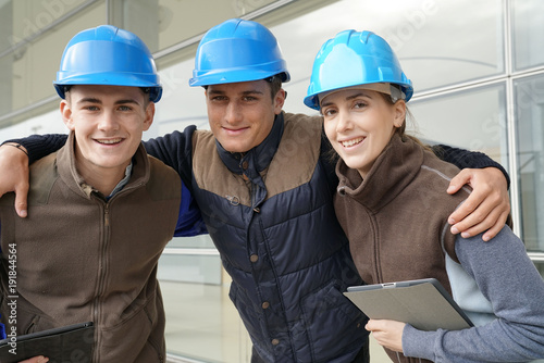 Portrait of young people in construction industry training