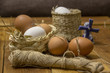 still life with chicken eggs