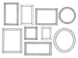 Picture frame graphic black white isolated sketch set illustration vector - 191849338