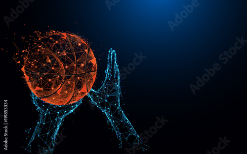 Abstract basketball player hands shooting basketball form lines and triangles, point connecting network on blue background. Illustration vector