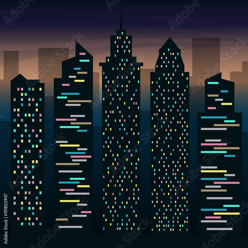 The skyscrapers of the big city at night. Night city landscape. Vector flat illustration.