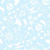 Summer sea travel cartoon seamless pattern. Vector illustration