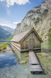 Lake Obersee with boat house in summer, Bavaria, Germany - 191860900