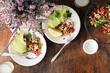 Salad of chickpeas vegetables, toast avocado on plate. Vegetarian food - 191863552