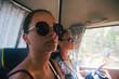 Quadro Portrait of woman traveler on a bus