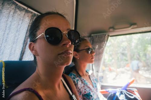 Portrait of woman traveler on a bus