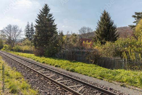 Fotobehang Spoorlijn Schienen für Bahn im Gleis neben Garten im Frühling