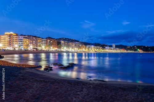 Lloret de Mar Resort Sea Town Skyline and Beach at Night