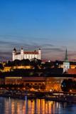 Nightfall in Bratislava city, Slovakia, view from Danube River