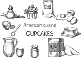 American cusine / Creative conceptual vector. Sketch hand drawn american food recipe illustration, engraving, ink, line art, vector. - 191871106